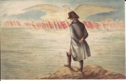 CPA NAPOLEON AIGLE IMPERIAL MER ROCHER COALITION DESSIN FOURQUIER - Personnages Historiques