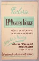 Publicité/Calendrier. Anderlecht. Poêlerie Vanden Borre. Rue Wayez. 1948 - Calendriers