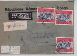 TP 636 S/L.recommandée C.Kinshasa En 1967 V. Bruxelles C.d'arrivée PR640 - République Démocratique Du Congo (1964-71)
