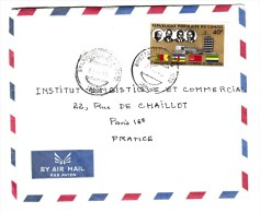 Marcophilie - Congo - Lettre Par Avion, Cachet De Départ De Brazzaville 1975 - Timbre 40 F Union Dounaière - Congo - Brazzaville