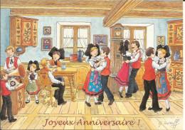 CPM Alsace Enchantée, Illustrateur Ratkoff / Scène D'intérieur N°7 La Danse / Enfants, Grammophone / Joyeux Anniversaire - Contemporain (à Partir De 1950)