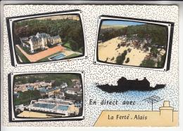 """LA FERTE ALAIS 91 - Multivues """" En Direct Avec """" Chateau Sablière Panorama - CPSM Dentelée GF - Essonne - La Ferte Alais"""