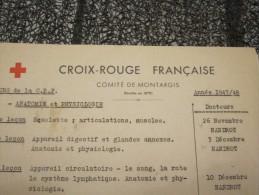 Militaria Croix-Rouge Française Comité De Montargis 1947 1948 Cours De La CRF 31 Lecons Avec Nom Des Docteurs - Documents