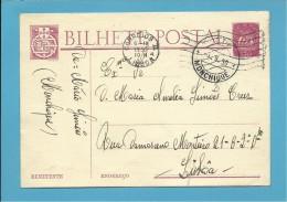 INTEIRO POSTAL STATIONERY - 1950 - CANCEL MONCHIQUE - PORTUGAL - CTT - 2 SCANS - Postal Stationery