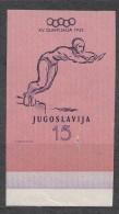 Yugoslavia Republic, Olympic Games In Helsinki 1952 Mi#700 Imperforated Mint Hinged, Small Hole - 1945-1992 Socialistische Federale Republiek Joegoslavië