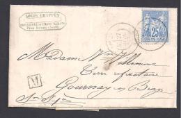 NORD - Cachet De DOUAI  + M De Frais Marais  Sur Lettre Avec  25 C Type Sage - Postmark Collection (Covers)