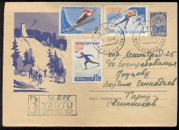 MAIL Post Stationery Cover Used USSR RUSSIA Set Stamp Sport Skier Skater - Lettres & Documents