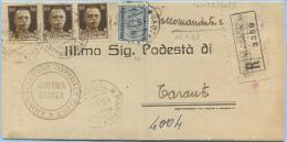 1943 IMPERIALE C. 30x3 (UNO CON FORI DI SPILLO) + SEGNATASSE C. 60 PIEGO RACCOMANDATO DA MARTINA FRANCA 15.1.43 (N132) - Storia Postale