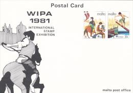 Malta 1981 Europa  Postal Card  Wipa 1981 - Malta