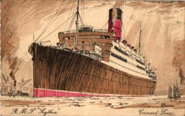 Passagierschepen   2 CP Scythia  Cunard Line  Homeric White Star Line - Steamers