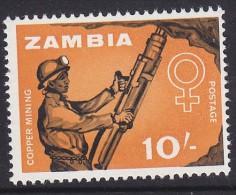 ZAMBIA, 1964  10/- MINER MNH - Zambia (1965-...)