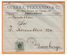 MAR28### POSTE MARITIME ### LETTRE DE PERNAMBUC (BRESIL) POUR HAMBOURG (ALLEMAGNE) ### 1906 - Marcophilie (Lettres)