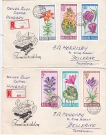 Hungary 1966 Flowers Registered FDCs - FDC