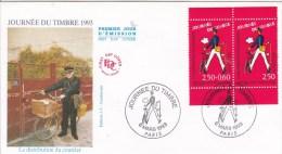 Premier Jour D´émission Enveloppe FDC FRANCE 1992  JOURNEE DU TIMBRE 1993 Distribution Du Courrier 2 - FDC