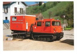 * 25 Pontarlier, Véhicule Pompier , Chenillette Hagglunds Tractant Cellule De Secours Aux Asphixiés Et Blessés Montagne - Pontarlier