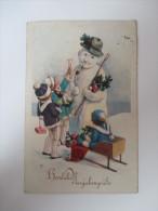 """AK Künstlerkarte 31.12.1927 """"Herzliche Neujahrsgrüße"""" Kinder / Schneemann / Schlitten Verlag LP 1362/IV - Neujahr"""