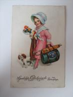 """AK / Künstlerkarte 1927 """"Herzlichste Glückwünsche Zum Geburtstage""""  Werbestempel Benutzt Die Luftpost - Geburtstag"""