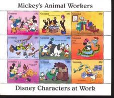 #  M-354-1*  MINT NEVER HINGED MINI SHEET OF DISNEY ANIMAL WORKERS   (  GUYANA   2917   1995 - Disney