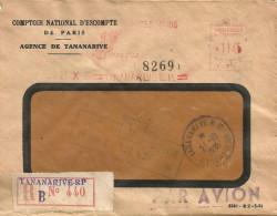 "Madagascar 1955 Tananarive Meter Franking Satas ""SD"" 015 EMA Registered Cover. Other Logo - Madagaskar (1889-1960)"