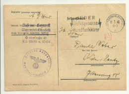 """Rundfunk - Werbestempel 1940 Wuppertal """"Jeder Volksgenosse Rundfunkhörer"""" - Briefmarken"""