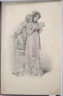 LITHO Couleur Illustrateur VIENNE 194 Wichera KRANZLE ? Femme + Fillette Sur Chaise Lisant Une Lettre Voyagé 1907 Timbre - Kraenzle