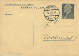 Postsachekarte Vom Bahnpostamt 33 In Posen An Das PA Dortmund Auf Polnischer Beutekarte - Deutschland