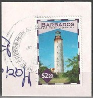 BARBADOS FRANCOBOLLO 2.20 $ - FARO LIGHTHOUSE - USATO SU FRAMMENTO - Barbados (1966-...)