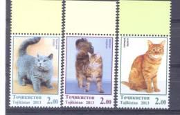2013. Tajikistan, Cats, 3v, Mint/**