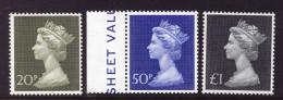 GREAT BRITAIN GB - 1973-74 HIGH VALUE MACHIN WHITER PAPER SET VERY FINE MNH ** - Machins