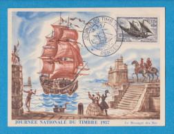 JOURNEE NATIONALE DU TIMBRE 1957  SERVICE MARITIME POSTAL BATEAU VOILIER  BELLE ILLUSTRATION - Giornata Del Francobollo