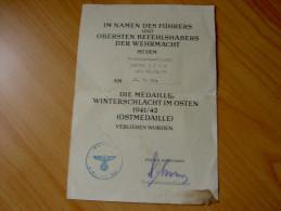 Ernennung Zur Ostmedaillie Winterschlacht 1941-42 - 1939-45