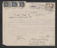 POLAND 1935 POWER OF ATTORNEY 3ZL GENERAL REVENUE (3 X 1ZL BF#106) +50GR COURT REVENUE (BF#17) TARNOW ZABNO - Revenue Stamps