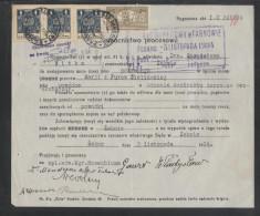 POLAND 1934 POWER OF ATTORNEY 3ZL GENERAL REVENUE (3 X 1ZL BF#106) +50GR COURT REVENUE (BF#17) TARNOW ZABNO - Revenue Stamps