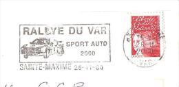 CACHET OBLITERATION FLAMME EMA  SAINTE MAXIME RALLYE DU VAR SPORT AUTO 2000 ENVELOPPE 22X11 - 1961-....