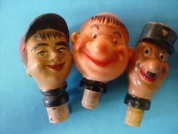 3  BOUCHONS MOINE, JOCKEY, POLICIER 2  Résine Moulée Et 1 Caoutchouc Rigide - Tire-Bouchons/Décapsuleurs