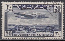 Afganistan, 1951/54 - 20af Plane Over Kabul - Nr.C10 Usato° - Afghanistan