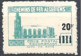 COLIS POSTAUX  YVERT N° 165 SANS SURCHARGE ET BATIMENT DE DROITE ABSENT NEUF** LUXE - Algérie (1924-1962)