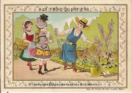 CHROMO-PARIS-AUX TROIS QUARTIERS-jardinage-CORBEILLE DE MARIAGE-TROUSSEAUX & LAYETTES - Chromos