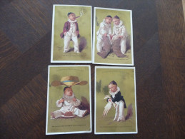 4 Chromos 19ème.Maison De La Belle Jardilière. Enfants Pierrot - Trade Cards