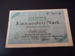 DEUTSCHLAND   SONNEBERG,     100 MARK, 27.9.1922, SELTEN - [11] Local Banknote Issues
