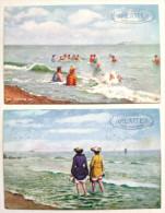 LOT 2X Chromo Illustrateur TUCK OILETTE SUMMER SEA Baigneuse Mer Plage PUB Chicoree ARLATTE Voyagé 1905 Timbre CAMBRAI - Tuck, Raphael