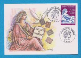 JOURNEE DU TIMBRE 1997  DROITS DE L' HOMME  OBLITERATION MARQUE POSTALE A ST LO 50 - Giornata Del Francobollo