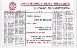CALENDARIETTO PUBBLICITARIO PLASTIFICATO -AUTOMOBILE CLUB BOLOGNA - ANNO 1966 - Calendari