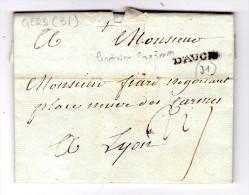 LAC D´  Auch Pour Lyon - 1781 - Marque Lineaire D´auch  - 3 Scan