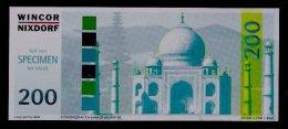 "ATM Test Note ""WINCOR NIXDORF USA"" (BEB - Ohne Röm. Zahl), 200 Dollars, Beids. Druck, RRRRR, UNC, Internal Use Only! - USA"