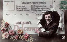 TELEGRAMME - Homme Moustaches Et Fleurs - JOYEUX NOEL - MERRY CHRISTMAS -TELEGRAM - Man Mustaches And Flowers - Correos & Carteros