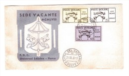 VATICAN 1958 Vacant See 21-10-1958 FDC  Cpl Set Of 3 - FDC