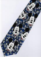 Mickey Mouse Disney Many Smiley Face BLUE Silk Cartoon Novelty Fancy NECK TIE - Other