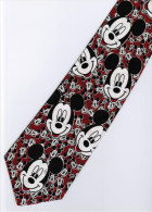 Mickey Mouse Disney Many Smiley Face RED Silk Cartoon Novelty Fancy NECK TIE - Other