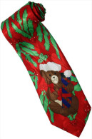 Christmas Santa Claus Xmas #30 Bear Gift RED Silk Cartoon Novelty Fancy NECK TIE - Other